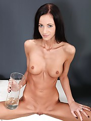 Skinny babe gets drenched inside and out with her mans piss