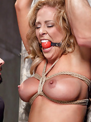 Big Tit Blonde Bombshell Cherie Deville fucked in tight rope bondage and slave trained