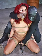Making an ebony BDSM video with a cute cock craving redhead babe