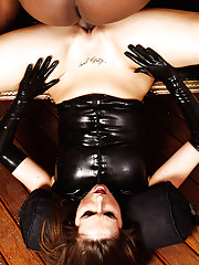 Paige Turnah slips into a skin tight PVC outfit and then takes a monster black dick