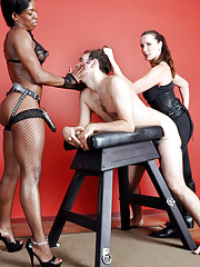 FEMDOM ebony babes Janes and her friend dominate a pathetic sissy dude