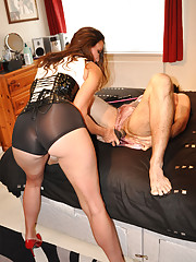 Strapon Jane toys with a sissies hard cock until he cums
