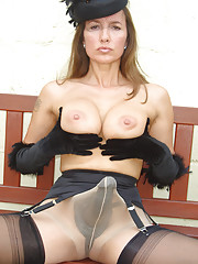 Jane poses outside with her strapon under her pantyhose