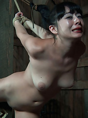 A spreader bar is all it takes to lay Nyssa out and keep her legs opened wide. An