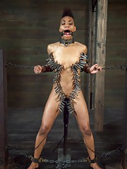 Nikki Darling makes an extreme ebony BDSM video with a little help