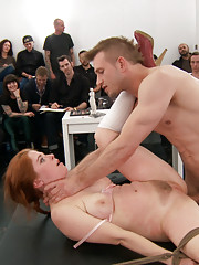 Penny Pax gets her red apple busted in public art class. Corporal rope bondage fucked