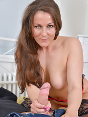 Naughty housewife in stockings gets fucked hard by a thick cock