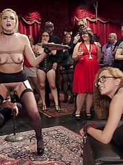 Innocent babe Keira amuses BDSM crowd by dropping trays cumming uncontrollably. Brazen