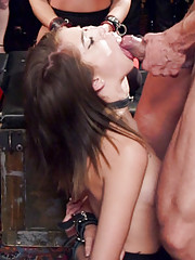 Four naked slave girls serve fuck in a BDSM orgy of lifestyle players mean mistress