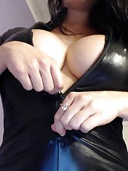 Sexy Kayla in a latex cat suit!