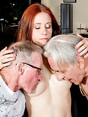 Minnie will suck all the cum out of these older cocks!