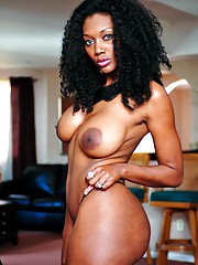 Brunette ebony MILF Nyomi Banxxx present her lusty desirable body