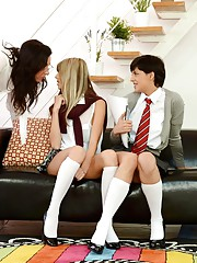 It doesnt take long before Ginas skirt and stocking are of