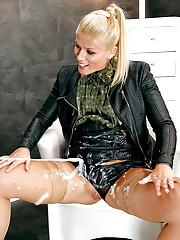 Cum keeps shooting from the giant dildo and she wants more
