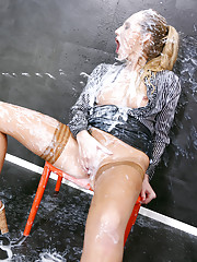 Showering in cum until it is on and in all over her body