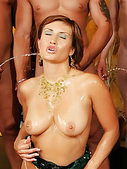 She fucks eight men then askes them to piss all over her