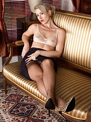 Evey wants an opinion on her outfit glossy satin blouse tight pencil skirt high heels
