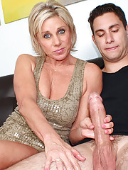 Blonde milf stroking young big cock