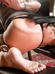 Watch Savannah Fox squirt all over while submitting to bondage flogging cropping