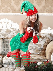 Skinny Teen Gina Gerson Gets Hot and Wet DP For Christmas