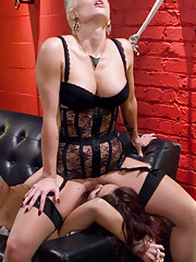 Dueling MILF secretaries get spanked fisted and ass fucked in this supercharged lesbian