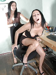 Hot lesbian boss puts her leather gloved hands all over sexy office girl