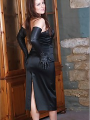 Busty brunette Candi looks so stunning when she puts on her long leather gloves to