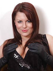 Candi puts her leather covered fingers all over her tits