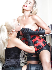 This gorgeous blonde gets so horny when she sucks on a leather glove
