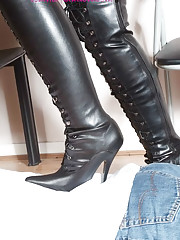 This submissive gets abused by his leather covered domme