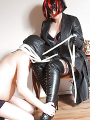 Some real boot worship from this gimp and his mistress