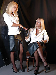 This naughty blonde gets her ass spanked with leather covered hands
