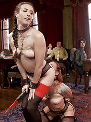 Gorgeous slave girls receive hard discipline and hard dick on the Upper Floor!