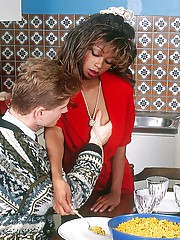 Vintage ebony kitchen video with the cute Bambia getting gangbanged