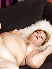 A grey-haired guy sticks his big dick in fat latina Bonitas warm mouth and pussy