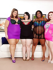 Horny ebony BBW gets her wet cunt licked in a lesbian foursome