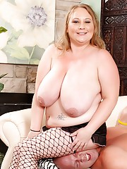 Chubby Sienna Hills gets her fat body ravaged by a bald guy with a big dick