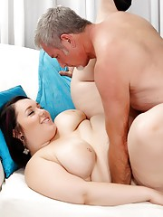 Sexy plumper Alexxxis Allure measures a guys dick and then fucks him silly