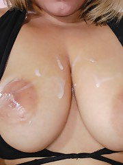 Great busty lady fucks and let her tits being covered in cum