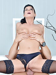 Gorgeous amateur MILF gets fucked hard by huge cock