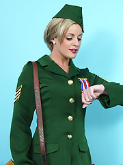 Heavenly blonde Sergeant Amy Green has an embarrassing time when all her clothes