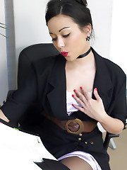 Secretary in stockings and sexy lingerie teases you as she strips in office.