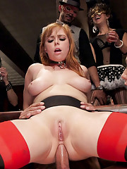 Four beautiful slaves take their beatings bondage and anal fucking amidst an orgy