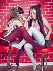 The gorgeous Billie and the saucy Helen. Both in hosiery. Both looking devilishly