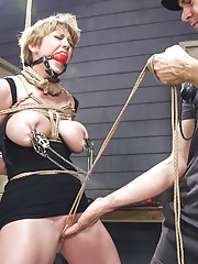 Darling takes the intensity to eleven with huge ball gags multiple nipple clamps