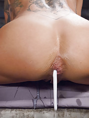 Celeste takes nearly the entire slink and then gets fucked in the ass with a huge