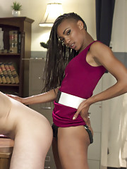 Horny black girl punishes her male slave with a giant strap-on