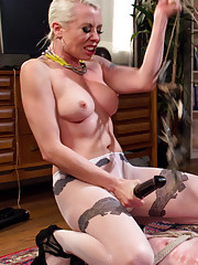 Training with Mistress Lorelei heavy corporal spanking flogging crops clamps rubber
