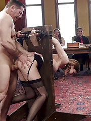 Young maid degrades herself crawls drools begs to worship cock with her tight pussy.