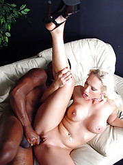Hot blonde interracial fuck and cumeating